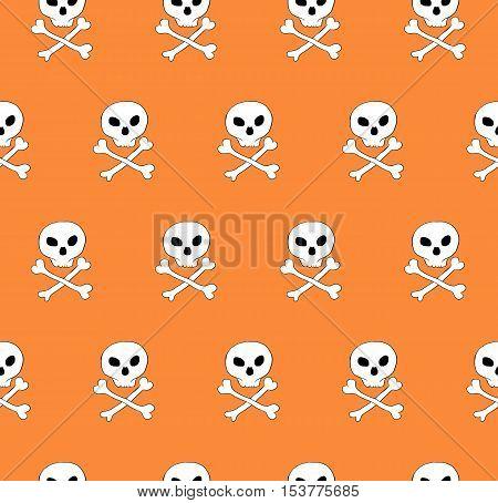 Vector skull and bones crossed seamless pattern. Diagonal tile, phantasy pattern. Orange background.