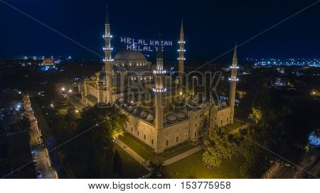 Aerial view of Suleimanie Mosque in Istanbul during Ramadan