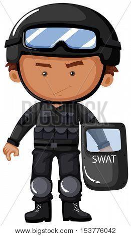 SWAT officer in safety uniform illustration