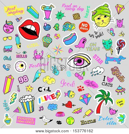 Fashion quirky cartoon doodle patch badges with cute elements. Isolated vector. Set of stickers, pins, patches in cartoon comic style of 80s 90s. Hearts, speech bubbles, love, lips, hearts, eyes, stars.