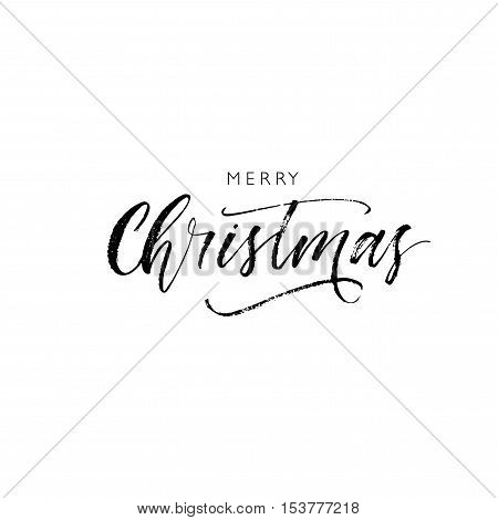 Merry Christmas phrase. Hand drawn greeting phrase. Ink illustration. Modern brush calligraphy. Isolated on white background.