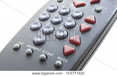 Remote control for a television that is isolated on a white background
