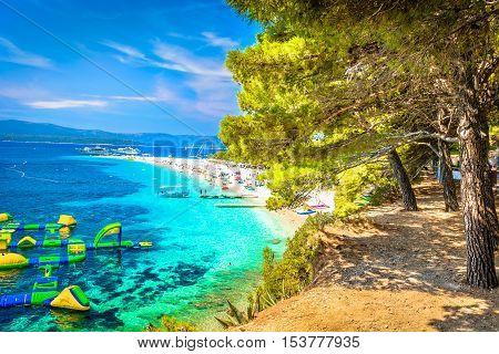 View at famous adriatic beach Golden Cape in Croatia, Island Brac.