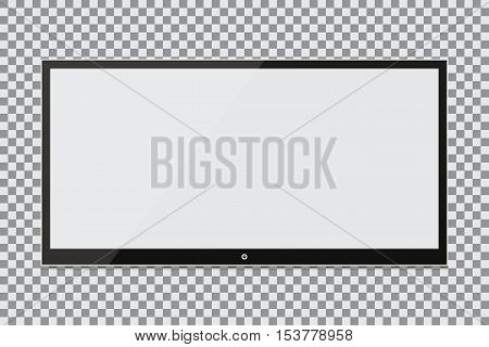 Blank screen. Realistic tv plasma on a transparent background