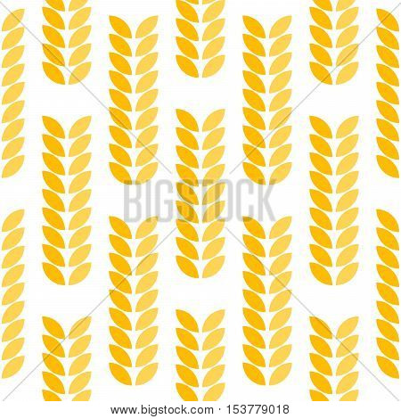 Ear of wheat seamless abstract vector pattern. Spica yellow background.