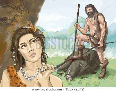 primitive woman looking with interest in the primitive hunter