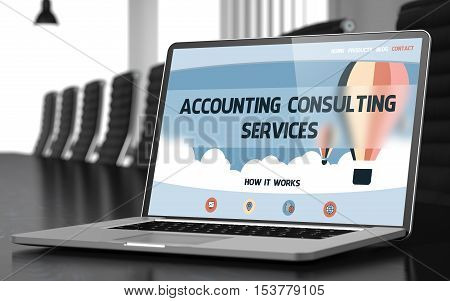 Modern Conference Hall with Laptop on Foreground Showing Landing Page with Text Accounting Consulting Services. Closeup View. Blurred. Toned Image. 3D.