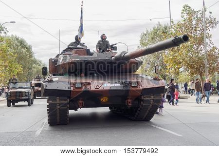 Thessaloniki, Greece - 28 October 2016: Oxi Day Greek Army tank parade. 28 October is a national Greek holiday commemorating the Greek no against the Mussolini Italian ultimatum of 1940.