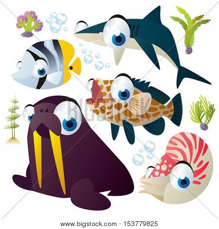 cute vector flat style illustration of sea life animals and fish. Funny collection set of walrus, shark, nautilus, grouper