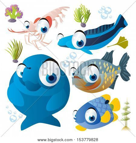 cute vector flat style illustration of sea life animals and fish. Funny collection set of shrimp, piranha, manatee
