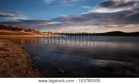 Beautiful daily landscape at Koprinka dam, Bulgaria