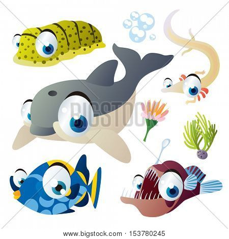cute vector flat style illustration of sea life animals and fish. Funny collection set of dolphin, sea cucumber, olm, angler