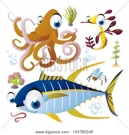 cute vector flat style illustration of sea life animals and fish. Funny collection set of octopus, tuna fish, sea dragon