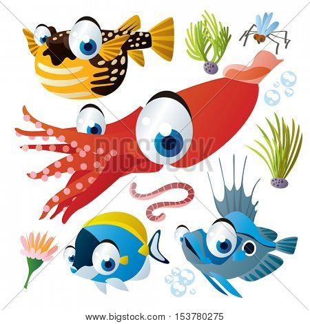 cute vector flat style illustration of sea life animals and fish. Funny collection set of puffer fish, squid, john dory