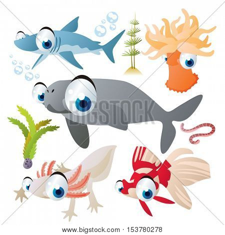 cute vector flat style illustration of sea life animals and fish. Funny collection set of dugong, actinia, gold fish, shark, axolotl