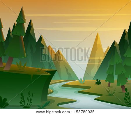 Cartoon forest landscape with mountains, river and fir-trees. Sunset or sunrise scenery background. Vector illustration.