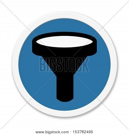 Blue isolated round Button with Symbol of Filter