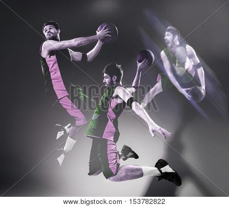 Collage from images of a basketball player with a ball