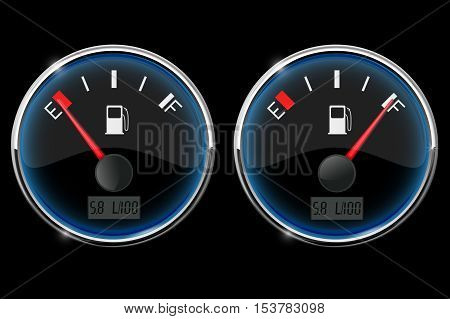 Fuel gauge. Empty and full. Vector illustration on black background