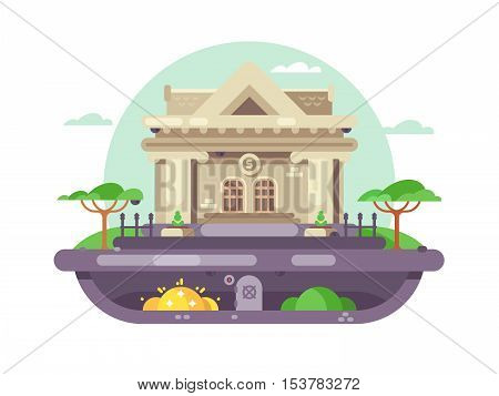 Architectural bank building. Financial institution with columns in flat style. Vector illustration