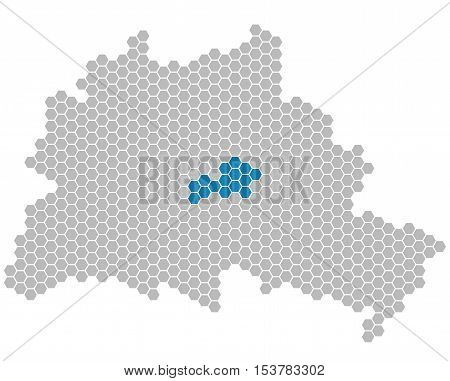 Set: Map of Berlin with grey and blue Pixels showing district of Friedrichshain-Kreuzberg
