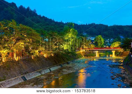 Distant Dusk Naka-bashi Bridge Down River Takayama