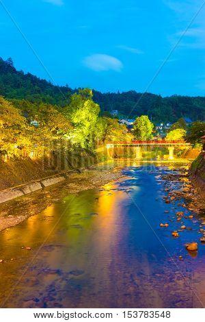 Far Naka-bashi Bridge Down River Takayama Twilight