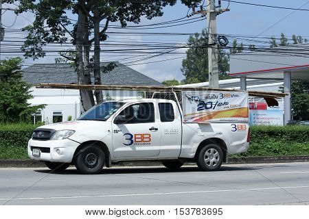 CHIANGMAI THAILAND - OCTOBER 8 2016: Pickup truck of Triple T Broadband company 3BB. Intenet Service in Thailand. Photo at road no 121 about 8 km from downtown Chiangmai thailand.