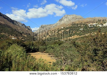 A view of the Kotsifou Gorge and village of Myrthios on Crete, Greece, from the southern resort village of Plakias.