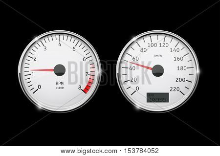 Speedometer tachometer in motion. Round gauges in chrome frames. Realistic vector illustration