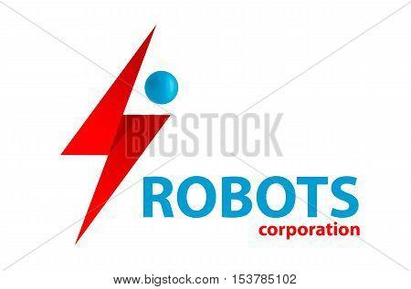 Blue simple flat droid robot logo vector