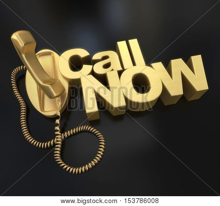 3D rendering of a golden telephone with the words call now