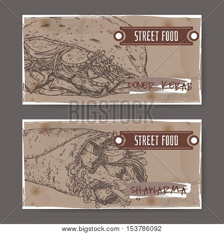 Ste of two landscape banners with doner kebab and shawarma. Turkish and Arabic cuisine. Street food series. Great for market, restaurant, cafe, food label design.