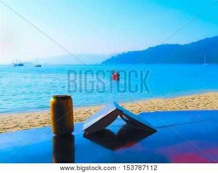 The book bear small boat at the Andaman Sea blurred in postproduction
