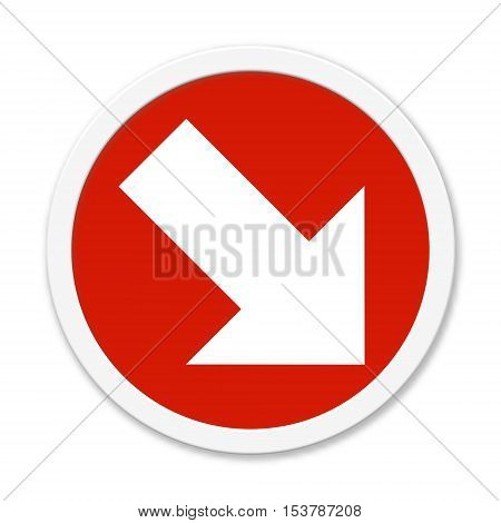Isolated round red button: Arrow showing down