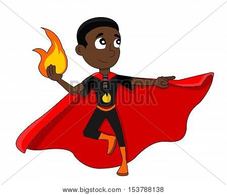 Illustration of cute African American superhero boy with fire-based powers wearing black costume and red cape, isolated on white background