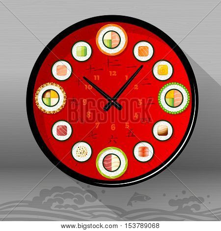 Food Vector Illustration : Japanese dishes: Sushi time, clock, hieroglyphs. Vector Illustration. Japanese characters in an watch dial denote the numbers from 1 to 12.