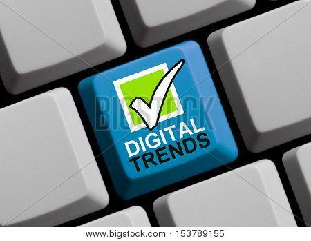 Blue computer keyboard is showing Digital Trends