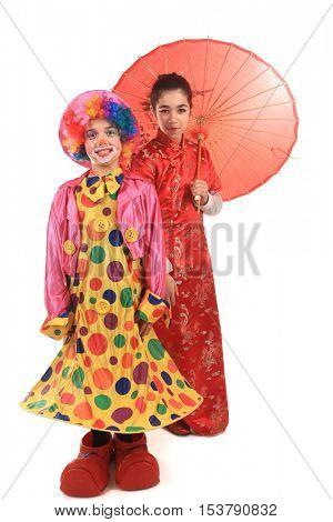 beautiful clown and chinese girl