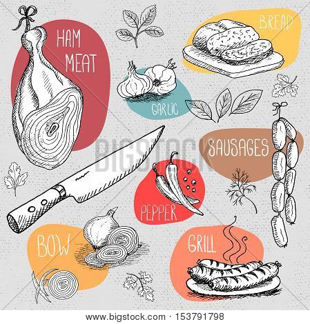 Set of stickers in sketch style, food and spices, old paper textured background. Ham, meat, knife, dill, onion, sausages, garlic, pepper, bay leaf. Hand drawn vector illustration.