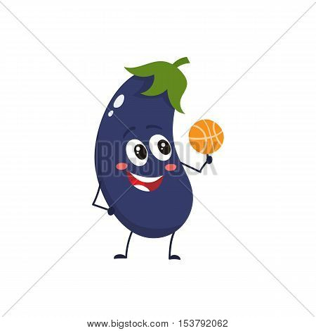 Cheerful smiling eggplant spinning a basketball on its finger, cartoon vector illustration isolated on white background. Cute funny eggplant character with a basketball, doing sport