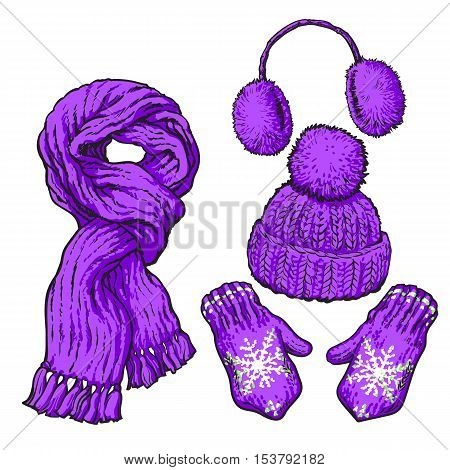 Set of bright purple knotted scarf, hat, ear muffs and mittens, sketch style vector illustrations isolated on white background. Hand drawn woolen scarf, hat with a pompom, mittens and ear warmers