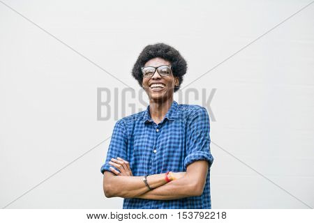 African Descent Teen Boy Smiling Portrait Concept