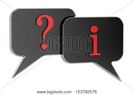 Speech Bubbles Question Information concept 3D rendering isolated on white background