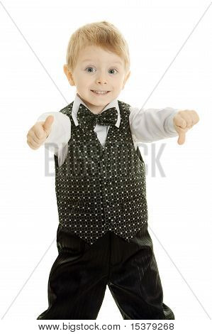 The little boy in a suit