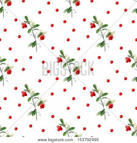 Cowberry seamless pattern.Lingonberry.Watercolor hand drawn illustration.White background.