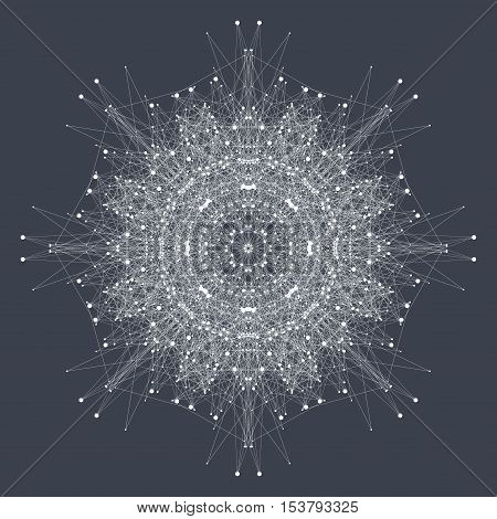 Fractal element with compounds lines and dots. Big data complex. Graphic abstract background communication. Minimal array. Digital data visualization. Vector illustration Big data.