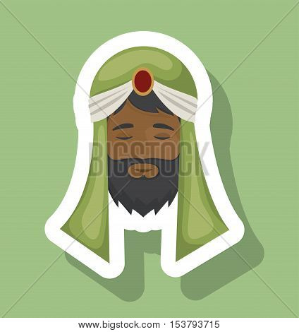 Wiseman cartoon icon. Holy night family christmas and betlehem theme. Colorful design. Vector illustration