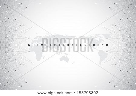 Big data complex. Graphic abstract background communication. Perspective backdrop with World Map. Minimal array with compounds lines and dots. Digital data visualization. Big data vector illustration