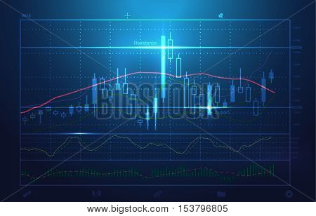 Vector stock charts and market analysis in blue theme. Illustration about stock investment. Ideal for technology concept background.
